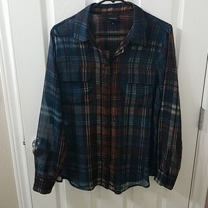 WhoWhatWear sheer plaid button down blouse